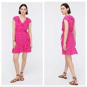 J Crew V Neck Pink Print Ruffle Faux Wrap Dress 12